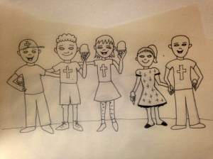 initial sketch of a photo to put on the first page or two of my children's book on love.