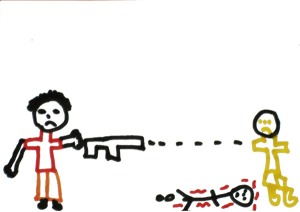This is NOT my child's drawing, but one I got from early childhood magazine on an article on  children's experience with violence.