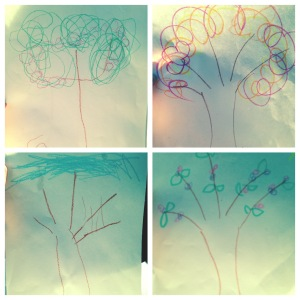 kids drawings of trees of each season to teach background for spring and Jesus Resurrection